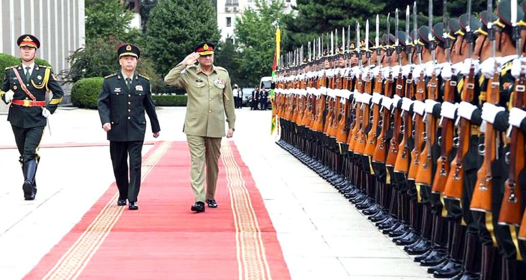 BEIJING (China): General Qamar Javed Bajwa, Chief of Army Staff (COAS) viewing guard of honor during visited Headquarters of People's Liberation Army (PLA). INP PHOTO