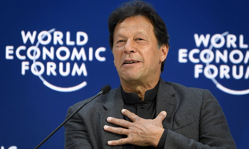 Pakistan's Prime Minister Imran Khan delivers a speech at the World Economic Forum (WEF) annual meeting in Davos, on January 22, 2020. (Photo by Fabrice COFFRINI / AFP)
