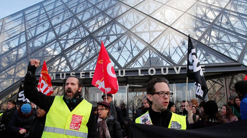PARIS Striking employees demonstrate outside the Louvre museum on January 17, 2020.